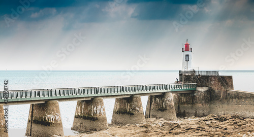View of the Lighthouse of the Grande Jetée (large pier) at Sables d Olonnes Canvas Print