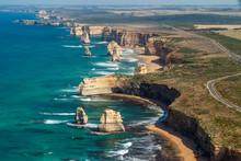 Aerial View Of The Twelve Apostles, Great Ocean Road, Victoria, Australia