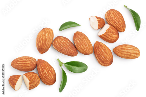 Almonds nuts with leaves isolated on white background with clipping path and full depth of field Canvas Print