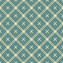 Vector Geometric Traditional Folk Ornament. Christmas Holiday Themed Seamless Pattern. Background With Small Squares, Crosses, Grid. Texture Of Embroidery, Knitting. Teal And Tan Color. Vintage Style
