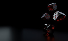 Futuristic Black Dices With Glowing Red Neon Lights - 3D Illustration