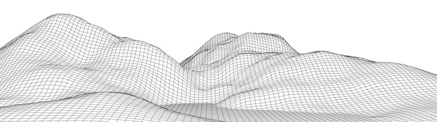 Vektorski žičani okvir 3d krajolik. Ilustracija tehnološke mreže. Mreža povezanih točaka i linija. Futuristička podloga.