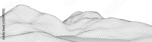 Vector wireframe 3d landscape. Technology grid illustration. Network of connected dots and lines. Futuristic background.
