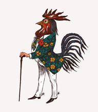 Rooster Character With A Cane And Boots. Fashionable Aristocrat Or Rich Man. Hand Drawn Fashionable Cockerel. Engraved Old Monochrome Sketch.
