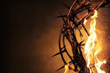 Crown of Thorns with flames background