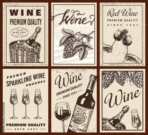 Wine posters or vineyard banners. Sparkling champagne background, Cheers toast and Grape. Hand Drawn engraved vintage sketch for bar, alcohol label, restaurant menu. Fototapete