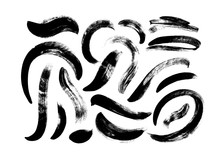 Black Paint Dry Brush Strokes Vector Illustrations Set. Abstract Monochrome Acrylic Smudges, Wavy Shapes Isolated On White Background.