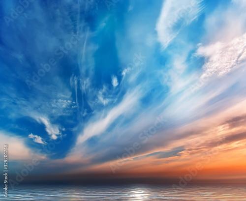 Obraz blue   pink sunset summer blue clouds  on sky n nature background landscape  - fototapety do salonu