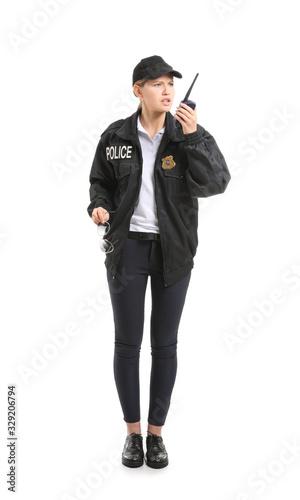 Obraz na plátne Female police officer on white background