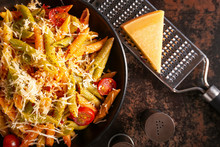Plate With Tasty Pasta And Che...