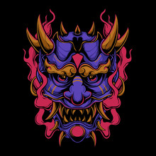 Purple Oni Mask With Red Flame...