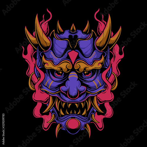 Photo Purple oni mask with red flame vector illustration