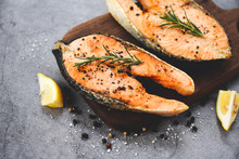Grilled Salmon Steak With Herb...