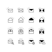 アイコンセット メール 白黒