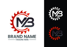 Initial Letter M B Logo With Saw, Woodworking Logo Concept Design.