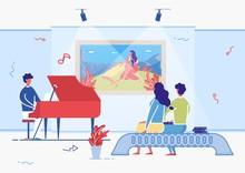 Artist Playing Piano In Art Ga...