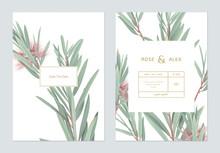 Wedding Invitation Card Template Design, Bottle Brush Branches On White