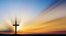 Cross On Sunset Over Sea