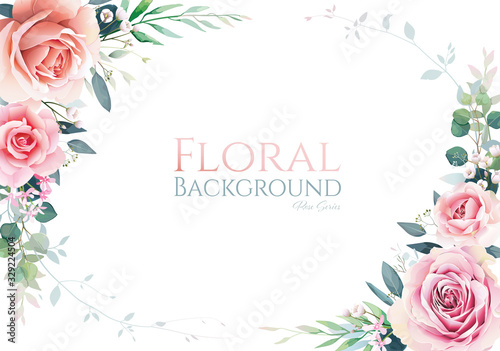 Pink and white rose with greenery frame border on white background. Beautiful template for wedding invitation or greeting card, banner. All elements are isolated and editable. Vector.
