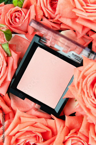 Palette of pink blush on floral background Canvas Print