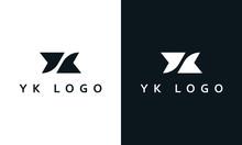 Minimal Elegant Simple Line Art Letter YK Logo.
