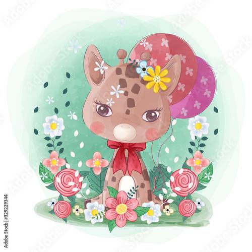 recznie-rysowane-cute-little-zyrafa