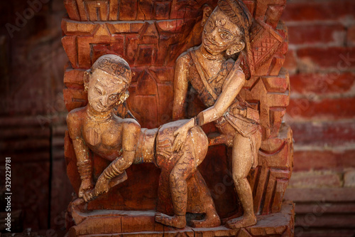 erotic carving from Nepal temple Canvas Print