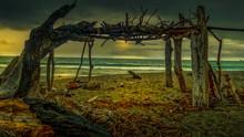 Beach Shelter Made From Driftw...