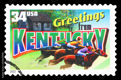 Tela UNITED STATES OF AMERICA - CIRCA 2002: a postage stamp printed in USA showing an image of the Kentucky state, circa 2002