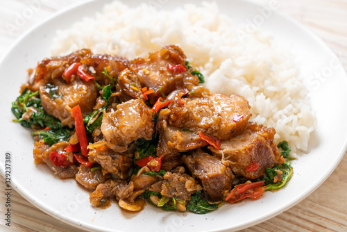 stir-fried crispy pork belly and basil with rice Wallpaper Mural