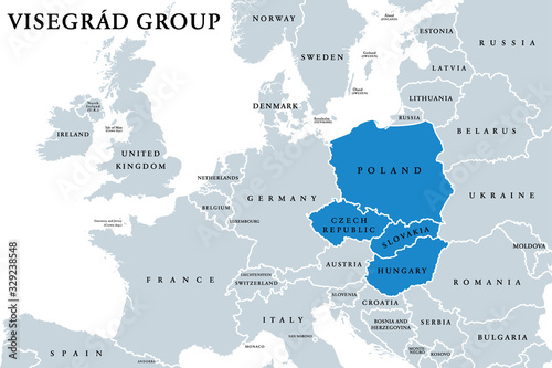 Obraz Visegrád Group member states political map. Visegrád Four, V4. Cultural and political alliance of Central European countries Czech Republic, Hungary, Poland and Slovakia. English. Illustration. Vector - fototapety do salonu
