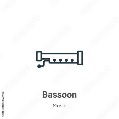 Bassoon outline vector icon Wallpaper Mural