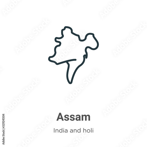 Assam outline vector icon Canvas Print