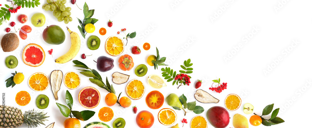Fototapeta pattern of various fresh fruits isolated on white background, top view, flat lay. Composition of food, concept of healthy eating. Food texture.