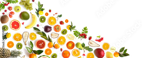 pattern of various fresh fruits isolated on white background, top view, flat lay. Composition of food, concept of healthy eating. Food texture. - 329241732