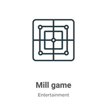 Mill Game Outline Vector Icon....