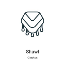 Shawl Outline Vector Icon. Thi...