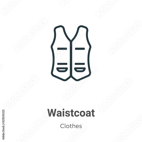Fotografija Waistcoat outline vector icon