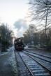 Dampflokomotive während der Fahrt an einem Bahnübergang