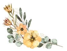 水彩 葉 花 装飾 ...