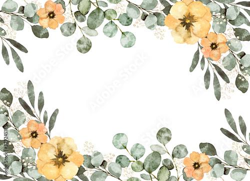 Cuadros en Lienzo 水彩 葉 花 装飾 フレーム ユーカリ イラスト