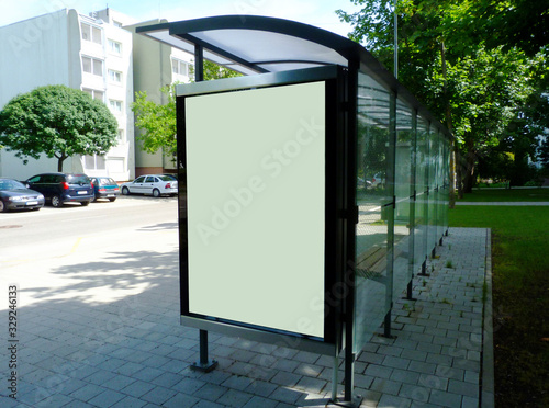 bus shelter at a bus stop Canvas Print