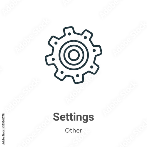 Settings icon outline vector icon. Thin line black settings icon icon, flat vector simple element illustration from editable other concept isolated stroke on white background Wall mural
