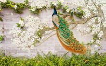 3D Flower Peacock Round Backgr...
