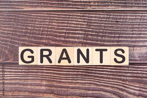 GRANTS word made with wood building blocks Billede på lærred
