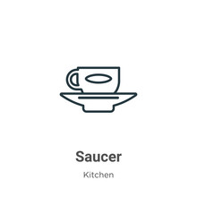 Saucer Outline Vector Icon. Th...