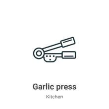 Garlic Press Outline Vector Ic...