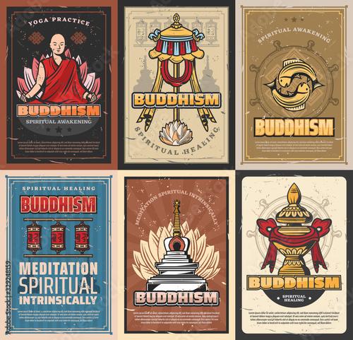 Fototapeta Buddhism religion retro posters