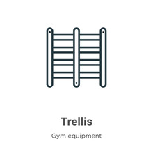 Trellis Outline Vector Icon. Thin Line Black Trellis Icon, Flat Vector Simple Element Illustration From Editable Gym Equipment Concept Isolated Stroke On White Background