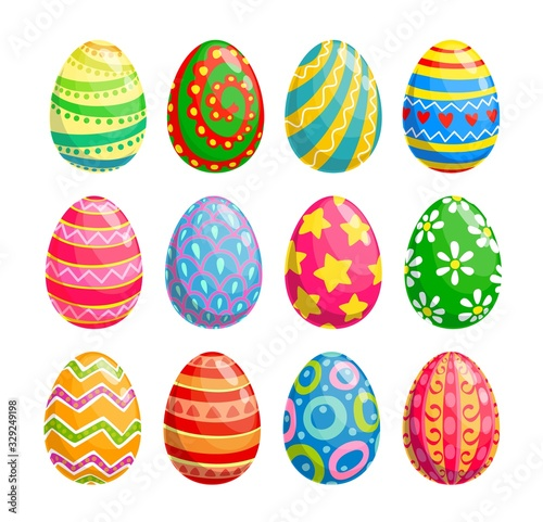 Obraz Easter egg isolated icons of religion holiday and egghunting vector design. Spring season painted eggs, decorated with colorful pattern of flower, stars and hearts, ornaments of stripes and dots - fototapety do salonu